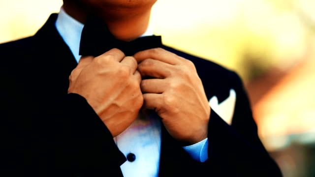 a businessman in suit is adjusting bow tie. - wedding fashion stock videos and b-roll footage