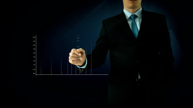 Businessman interactivity Touch screen. Touchscreen Technology motion graphics. Blue abstract video