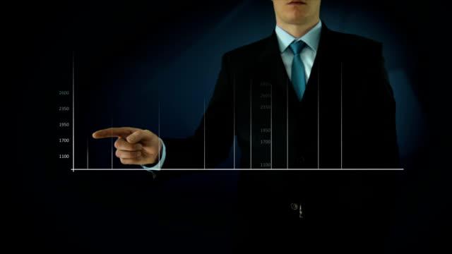 Businessman interactivity Touch screen. Touchscreen Technology motion graphics. Blue big graph. video