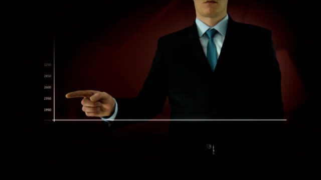 Businessman interactivity Touch screen. Touchscreen Technology motion graphics. Red big bar graph. video