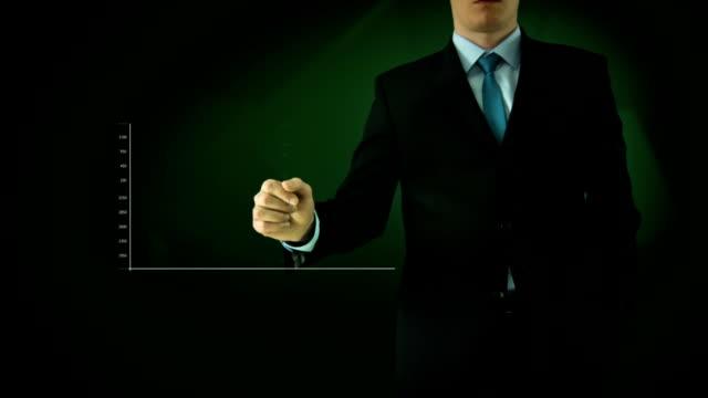 Businessman interactivity Touch screen. Touchscreen Technology motion graphics. Green bar graph. video