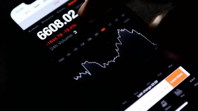 vidéos et rushes de l'homme d'affaires vérifie le tableau de prix de bitcoin sur l'échange numérique sur le téléphone mobile - investissement