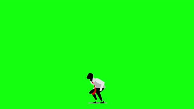 飛び上がる実業家 - 拳 イラスト点の映像素材/bロール