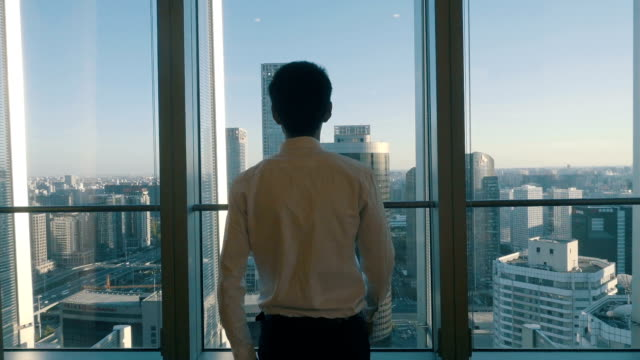 Businessman looking at cityscape from office window video