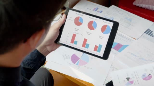 uomo d'affari alla ricerca di business progetto e analisi dei dati di mercato - rapporto video stock e b–roll