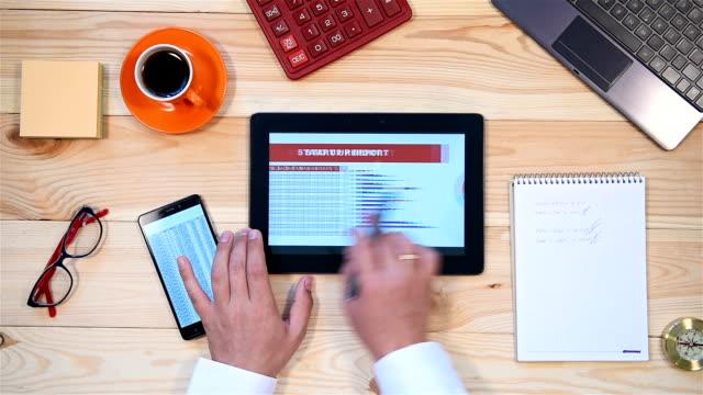 Businessman Monitoring Stock Statistics video