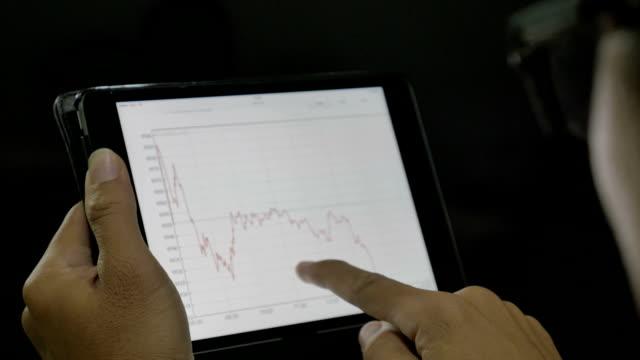 Businessman nalyzing market data information on a digital tablet video