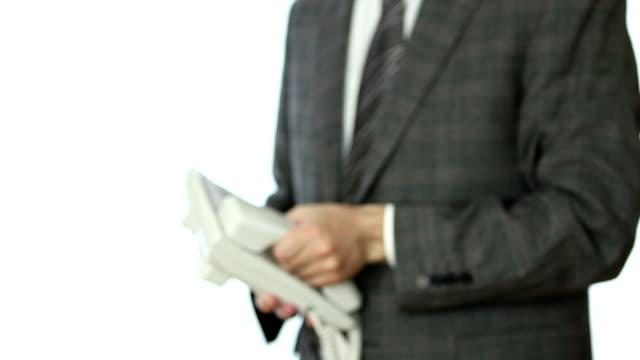 бизнесмен телефонной трубки - один объект стоковые видео и кадры b-roll