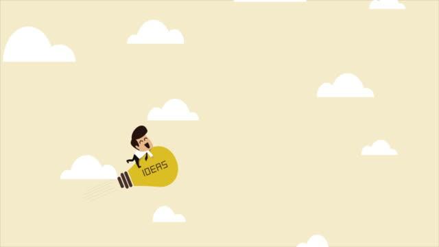Uomo d'affari su un volo di lampadina razzo di idea - video