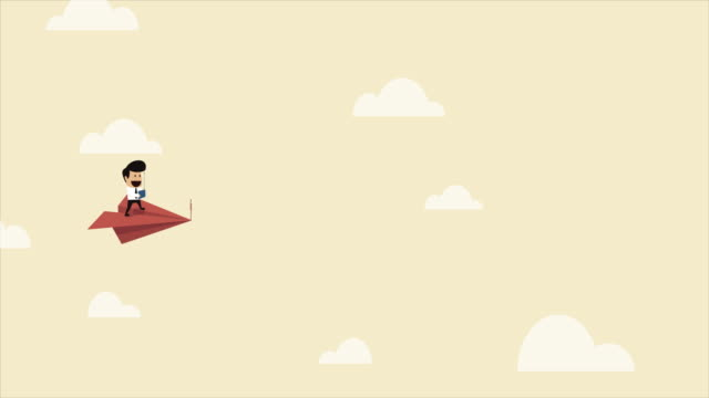 Businessman on a flying paper airplane