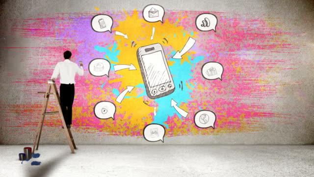 businessman on ladder painting on wall - animal doodle bildbanksvideor och videomaterial från bakom kulisserna