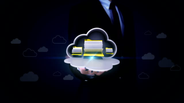 Businessman open palm, Access Cloud file security, Opened cloud safe. video