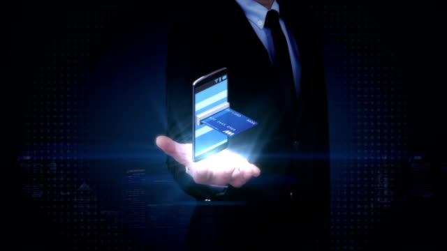 businessman open palm, credit card insert smartphone, online payments.mobile purchase. - banks and atms stock videos & royalty-free footage
