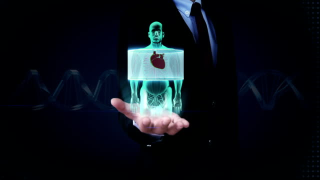 vídeos de stock e filmes b-roll de businessman open palm, front body scanning heart. human cardiovascular system. - aorta
