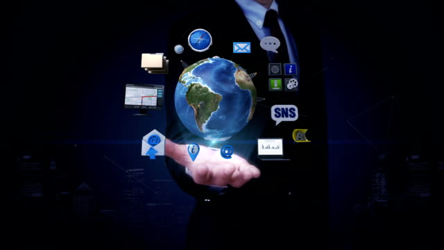 Businessman open palm, Rotating earth, expanding social network service. artificial satellite, Communication technology video