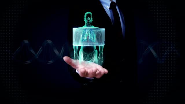 Businessman open palm, Scanning body. Human lungs, Pulmonary Diagnostics, X-ray. video