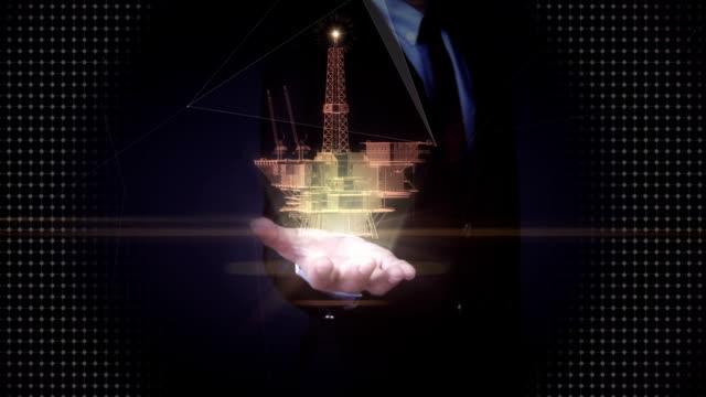Businessman open palms, oil drilling, oil platform ship. x-ray image. video