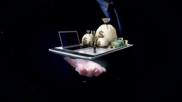 Businessman open palms, Online banking, loan, cash on mobile.tablet. video