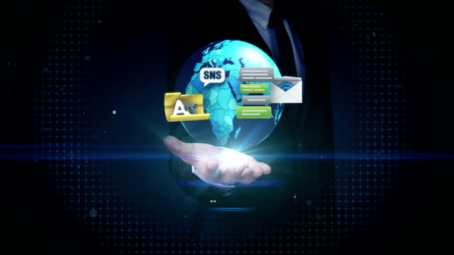 Businessman open palms, social network internet for mobile, tablet video