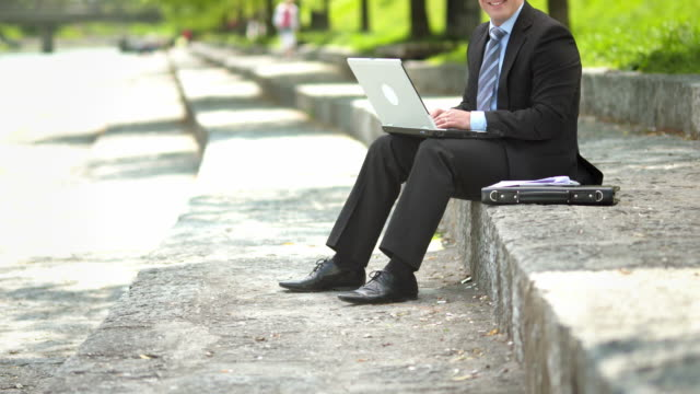 HD: Businessman Posing On The Embankment video