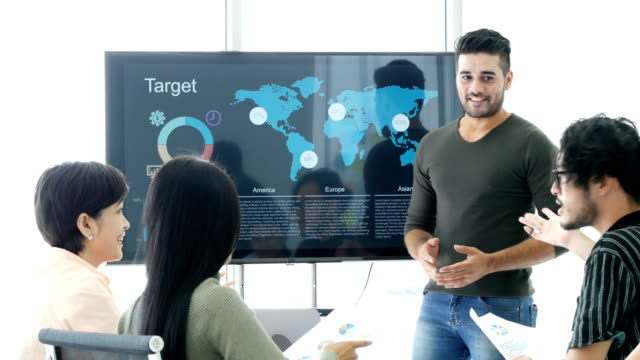 Businessman present work project at meeting room. people working concept. Businessman present work project at meeting room. people working concept. digital marketing stock videos & royalty-free footage