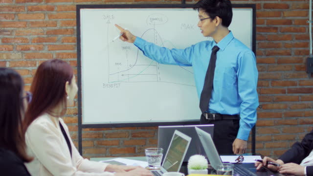 Businessman presentation on whiteboard with his startup team in meeting room , dolly shot left to right video