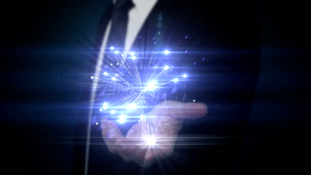 Businessman presenting hologram video