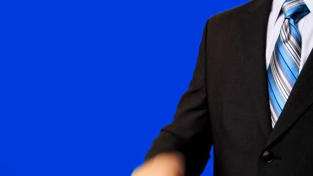 Businessman pressing virtual 'sale' banner video