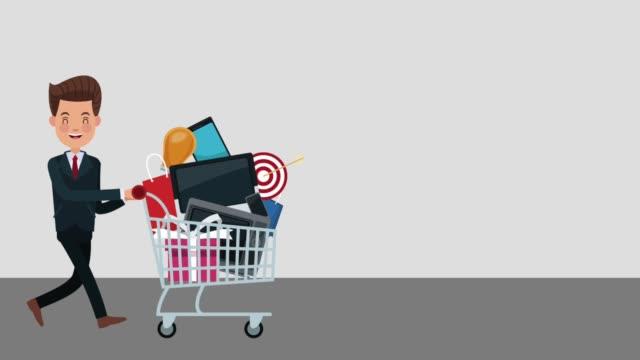 Businessman pulling shopping cart video