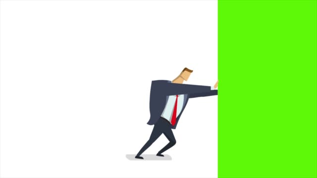 Businessman pushiung and chasing green screen away. Animated editing transition. Flat animation, isolated.