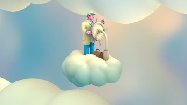 Businessman riding a Cloud in the Sky (3 loops)