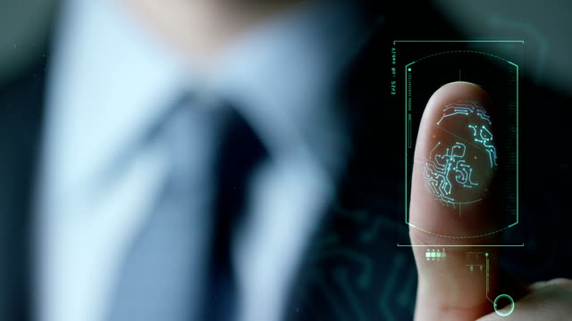 businessman scan fingerprint biometric identity and approval. concept of the future of security and password control through fingerprints in an immersive technology future and cybernetic, business - kciuk filmów i materiałów b-roll