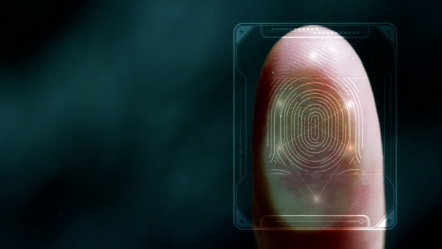 businessman scan fingerprint biometric identity and approval. - cartina italia video stock e b–roll