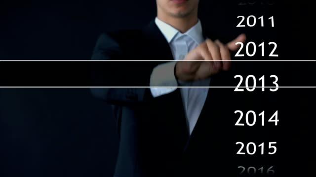 uomo d'affari seleziona l'anno 2018 nel menu virtuale, cerca dati, cronologia aziendale - dow jones industrial average video stock e b–roll