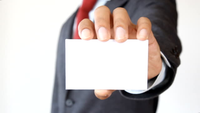 businessman show blank card - business card stock videos & royalty-free footage