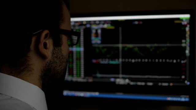 stockvideo's en b-roll-footage met zakenman zitten en het gebruik van de computer weergegeven: trading grafiek stock exchange trading grafiek schermachtergrond, zakelijke financiële en forex concept. pc-monitor weergegeven: vervagen feed pagina. - aandelen