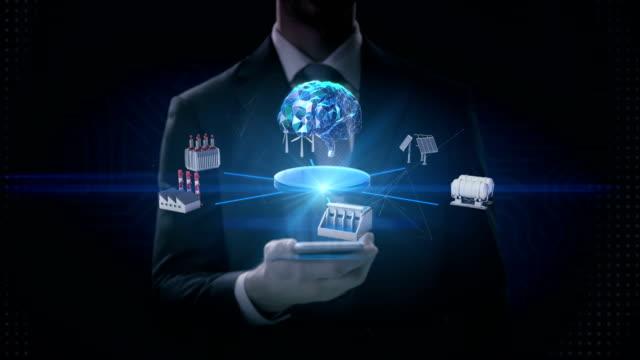実業家スライド タッチ スマート電話、携帯電話、スマート工場、太陽電池パネル、風力発電機、水力発電、クリーン エネルギーは、デジタル脳、人工知能、モ ノのインターネットを接続し - 生態系点の映像素材/bロール