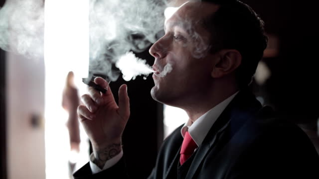 uomo d'affari di fumare sigaro - sigaro video stock e b–roll