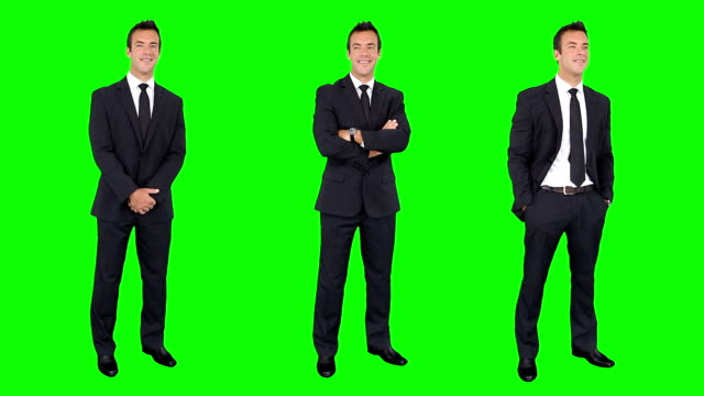 Businessman spinning in green background. Chroma key. 3 in 1. video