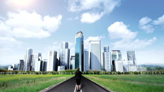 Businessman standing on high way, road. build buildings. makes cityscape.