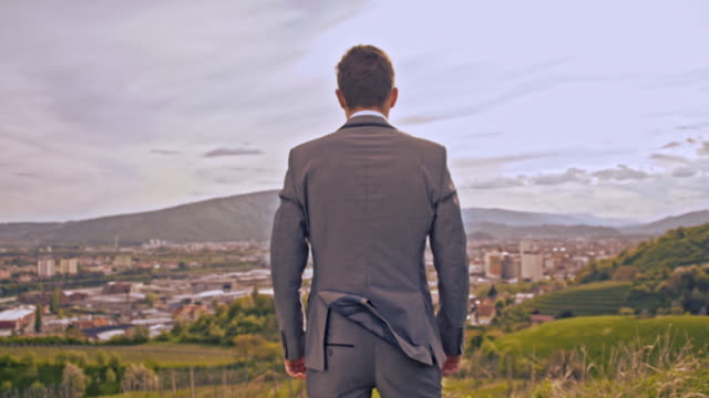 Businessman standing on the hill with arms crossed video