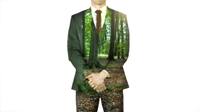 Businessman standing with hands on hips with forest overlay Digitally generated of businessman standing with hands on hips with forest overlay arms akimbo stock videos & royalty-free footage