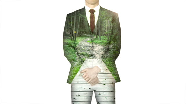 Businessman standing with hands on hips with forest path overlay Digitally generated of businessman standing with hands on hips with forest path overlay arms akimbo stock videos & royalty-free footage