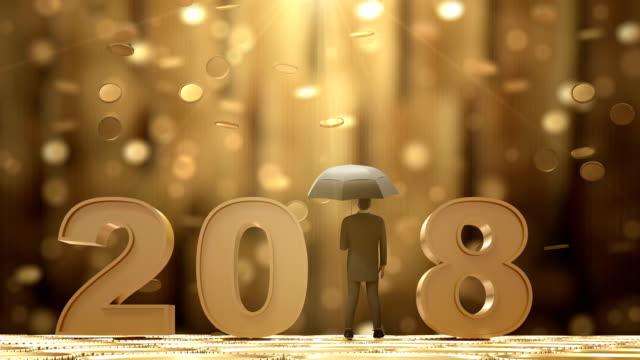 2018 Businessman Standing with Umbrella Under the Money Rain video
