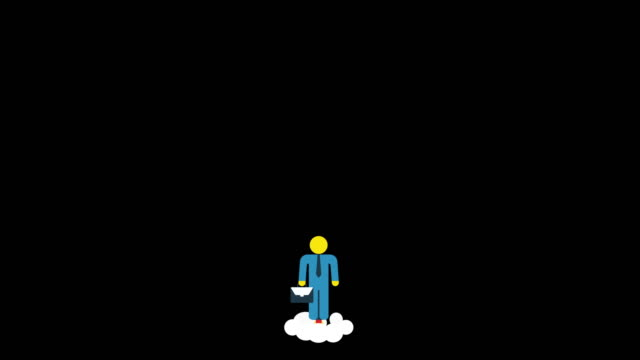 Businessman take off and flying to space Businessman take off and flying to space. Cartoon flat animation in 4K Strat Up Business Concept. Career development and Entrepreneurship. promotion employment stock videos & royalty-free footage