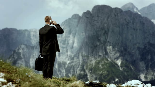 HD: Businessman Talking On Phone In The Mountains video