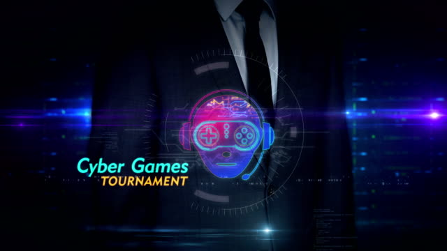 Businessman touch screen with esport cyber games symbol hologram