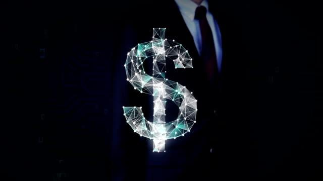 geschäftsmann hat bildschirm berührt, zahlreiche punkte sammeln ein dollarzeichen währung, low-polygon-web erstellen. - woman and polygon stock-videos und b-roll-filmmaterial