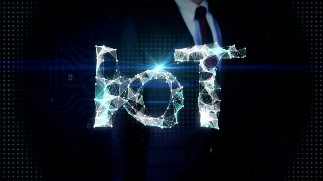 Businessman touched screen, Numerous dots gather to create a 'IoT' typo, low-polygon web. video