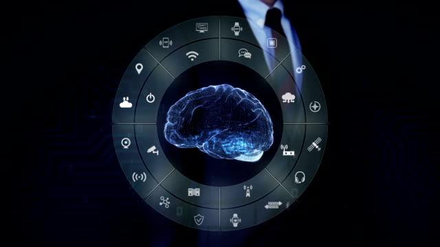 Businessman touching blue Digital brain, Internet of things technology, artificial intelligence. video